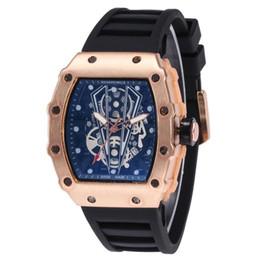 2019 relógio de pulso crânio 2019 Novo Crânio Do Pirata Relógios Homens Estilo Richard Quartz Militar de Borracha Relógio de Pulso Dos Homens de Esportes de Ouro Rosa Relogio Masculi1 relógio de pulso crânio barato