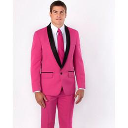 Nuevos padrinos de boda Chal de solapa negro Traje de novio para hombre Trajes de rosa fuerte para hombre Trajes de boda El mejor hombre (Chaqueta + Pantalones + Corbata + Pañuelo) desde fabricantes