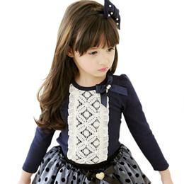camicette scolastiche Sconti LEMEMOGO Autumn Lace School Girls camicette della ragazza del cotone dell'arco camicetta bambini stampa di vestiti per bambini a maniche lunghe abbigliamento camicia della ragazza