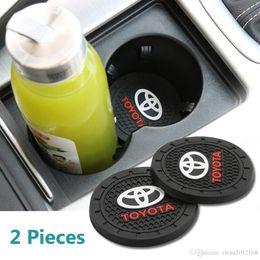 Accesorios de corola online-2 piezas de 2,75 pulgadas del interior del coche Accesorios Anti Slip Copa Esteras para Toyota Corona, Reiz, Prius, Corolla, Landcruiser, Prado, Coaster, Highlander