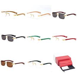 ed3551f756 Wooden Square Sunglasses Rimless Buffalo Horn Eyewear Spectacle Optical Frame  Eyeglasses Luxury Designer Mirrored Ski Goggles Gafas C53