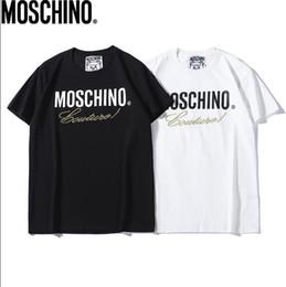 Magliette da uomo e da donna all'ingrosso MOS 100% cotone teddy bear stampato t-shirt da uomo casual bianco e nero coppia t-shirt da