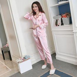 Pyjama en soie pyjama pour les femmes en satin femmes ensembles de pyjamas manches longues col rabattu poche décor haut + pantalon en soie ? partir de fabricateur
