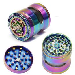 tela do arco-íris Desconto Moedores de tabaco Ferramentas 52mm 4 Camadas Seco Herb Smash Rainbow Animal Padrão Sapo Moedores Para Venda Tubo de Tela Frete Grátis DHL