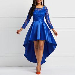Вечеринка Дата Асимметричная Атласная Выдалбливают Цветочные Кружева Длинное Платье Женщины Весна Лето Royal Blue Бордовый Красный Макси Платья T4190605 от