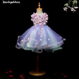 Bebés imágenes de flores online-2018 Real Fotos púrpura muchachas de flor vestidos para niños Imágenes atractivas del partido del bebé bodas cabritos del vestido vestidos de baile vestidos de noche