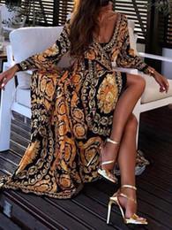 Bayan Yaz Tasarımcı Elbiseler V Boyun Uzun Kollu Çiçek Baskı Bölünmüş Kadın Giyim Moda Rahat Giyim nereden kim kardashian gündelik elbiseler tedarikçiler