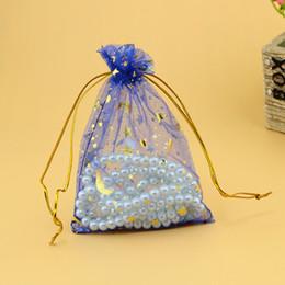Bolsas de la luna de la estrella azul online-Hotsale 500 unids / lote Moon Star Royal Blue Bolsas de Organza 9x12 cm Pequeño Cordón Bolsa de Regalo Encantos Joyas Bolsas de Embalaje Bolsas
