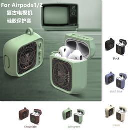Tv objektiv online-Retro TV Hülle für Airpods Kopfhörer Silikonhüllen Anti-Staub-Schutzhülle Super Cool TV Style mit PC Lens Air Pod Shell