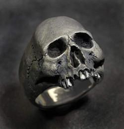 2019 anillos de dedo personalizados Anillo de la joyería de plata cráneo de acero inoxidable 316L de la vendimia para hombre del cráneo del motorista del rollo de la roca punk gótico nos tamaño 7-14