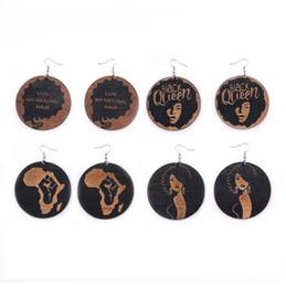 boucles d'oreille de mariage en larmes en gros Promotion Boucles d'oreilles Fashion Wood Afrique géométrique Dangle Earring pour les femmes