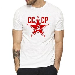 russian star Coupons - Russian Soviet Red Star T Shirts Men USSR Soviet Union Man Short Sleeve Streetwear Tshirt Moscow Russia Mens Cotton T Shirt