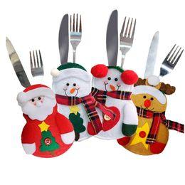 держатели вилки ножей для рождества Скидка Рождественский держатель столовых приборов Вилка-ложка Карманная сумка Рождественский декор Снеговики Санта-Лось Кухонная посуда Обеденный нож Вилка Набор Мешок