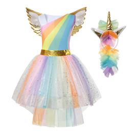 Meninas traje arco íris on-line-Yofeel rainbow unicórnio dress para a menina traje cosplay crianças tutu flying sleeve party halloween natal princesa vestidos j190705