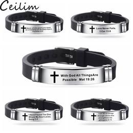 Novo design verso da Bíblia Pulseiras para Oração Homens Silicone Bíblia pulseira Cotações oração Cruz cristã Bangle pulseira de aço inoxidável de Fornecedores de quartzo relógio lua