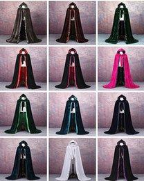 Langer purpurner samtmantel online-Velvet Hochzeit Jacken Vintage-Mantel Capes dunkle lange Roter lila Braut Mantel Cap Hochzeit Zubehör Retro Jacke Hochzeit Mantel
