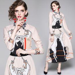 Вечерние костюмы для дам онлайн-Уличный стиль женская рубашка с принтом животных + плиссированная юбка длиной до пола Элегантный офисный женский сексуальный тонкий из двух частей устанавливает вечерние платья