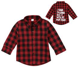 Red Plaid Fashion Toddler Bambini Boy Girl manica lunga posteriore Lettera Stampa Controlla Blusa T-shirt Tee Tops Vestiti 2-7Y da