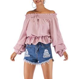 Кружевная блузка онлайн-Мода Топы Женщины Блузка Bubble С Плеча С Длинным Рукавом Свадьба Шнуровка Леди Горошек Шеи Лодка Сексуальная