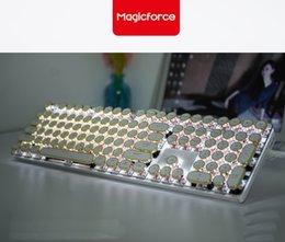 Canada Magicforce Crystal 108 touches Vintage Edition de machine à écrire USB câblé clavier de jeu mécanique rétroéclairé, Cherry Switches Gold Keycaps cheap keyboard gold Offre
