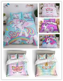 2019 camas cheias venda Venda QUENTE Unicórnio Dos Desenhos Animados Jogo de cama com fronhas conjunto gêmeo rainha cheia king size camas cheias venda barato