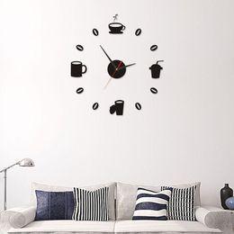2019 Tasses A Cafe Cuisine Wall Art Miroir Horloge Design Moderne Decoration Wall Sticker Decor Pour Salon Gros