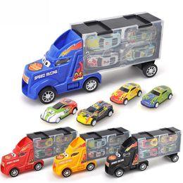 Modelos de camiones de juguete contenedor online-Ling speed juguete tractor para niños camión contenedor tirar hacia atrás modelo de coche de metal combinación conjunto niño regalos