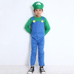 Adultos e Crianças Super Mario Bros Dance Costume Set Crianças Festa de Halloween MARIO LUIGI Traje para Presentes Dos Miúdos de