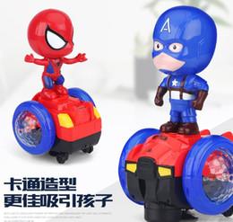 2019 rodas de trabalho ao atacado Avengers Marvel Ironman Dança Guerreiro Ferro Spiderman Bumblebee Robot Lighting Música Toy Elétrica DANÇA HERÓI Billy Red
