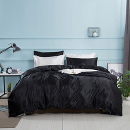 conjuntos de cama ocidentais Desconto 4 pcs cetim de seda conjunto de cama, conjunto de cama king size, roupas de cama, Estilo Ocidental Folha Fronha Capa de Edredão Conjuntos