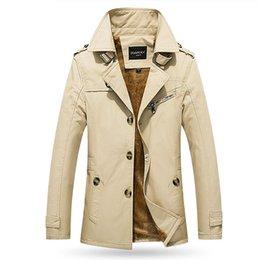 Tranchée en cachemire pour hommes en Ligne-2019 hiver veste décontractée pour hommes dans le manteau M-5XL 5color de trench-coat en coton épaissie de coton épais épaissie