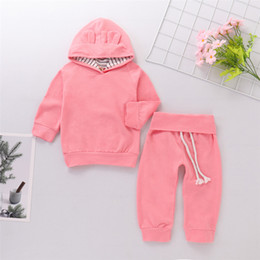 48cc45e7e6eb Mikrdoo Toddler Newborn Baby Boy Girl Clothes Set Pink Solid Color Long  Sleeve Hooded Top Pant 2PCS Outfits Kids Autumn Sets