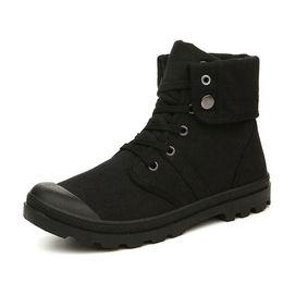 2019 botas de inverno altas confortáveis Outono Inverno Homens Botas de Lona Estilo de Combate Do Exército de Moda de Alta-top Ankle Boots Sapatos Masculinos Sapatilhas Confortáveis desconto botas de inverno altas confortáveis