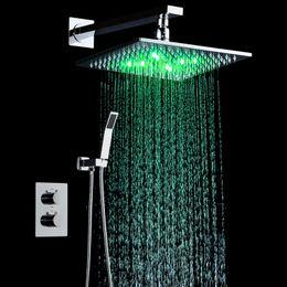 """Grifo de baño cromo online-10"""" Sistema de lluvia cabeza cromo pulido Baño de montaje en pared grifo de la ducha Mezclador baño ducha de lluvia Conjunto de Conjunto"""