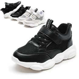 Scarpe Bambini Ragazzi Ragazze Casual Mesh Sneakers 2020 Primavera traspirante soled molli Running Shoes Sport Nero Beige Bambino Sneaker # 17