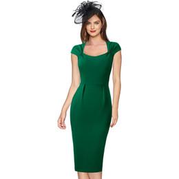 Vestidos de cóctel cuadrados online-Vfemage Para Mujer Celebridad Elegante Cuello Cuadrado Trabajo de Negocios Oficina Cóctel Boda Invitado Fiesta Estiramiento Bodycon Vestido de la envoltura 1087