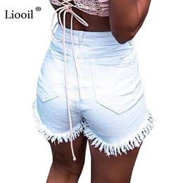 2019 pantalones cortos de talle alto Liooil Summer Tassel Denim Negro Blanco Rojo Sexy Flaco Bolsillos con botones de cintura alta Casual Slim Shorts Q190427 pantalones cortos de talle alto baratos