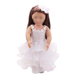 poupées bébé nouveau-né Promotion 18 pouces filles robe de poupée princesse robe de mariée blanche robe américaine nouveau né vêtements bébé jouets fit 43 cm bébé ts1
