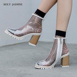 6d838b6962e Primavera verano nuevo sexy PVC botas transparentes sandalias peep toe  zapatos kim kardashian claro tacones gruesos sandalias mujer mujer botas  rebajas ...