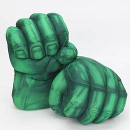 caixa de brinquedos hulk Desconto Hulk super-herói verde quebra mãos homem aranha homem de ferro de pelúcia luvas de boxe adereços brinquedos 10 ''