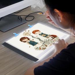 Cuadro de color de pintura online-LED A5 Tabletas digitales Caja de luz Tableta gráfica Escritura Pintura Tablero de rastreo con brillo regulable Tabletas de copia Dibujo digital