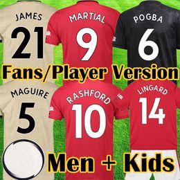 Wholesale Manchester United LUKAKU MARTIAL POGBA Red Pink Юнайтед Футбол Джерси RASHFORD Детский комплект трикотажных изделий Футболка Высочайшее качество оборудования