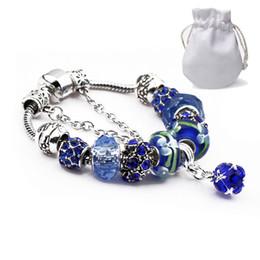 Pandora charme perlen gläser online-Gute Bewertung Charm Armbänder Silber Überzogene Weibliche Luxus Fit Pandora Bangles Navy Glasperlen Diamant Kristall Anhänger Legierung Schmuck P20