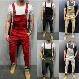 Beige hosenträger online-Mode für Männer Zerrissene Jeans Jumpsuits Hallo Straße Distressed Denim-Latzhose für Mann Strumpfhose Größe S-XXXL