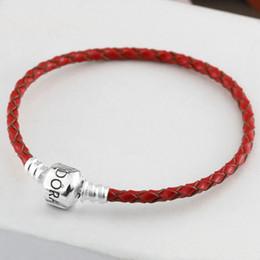 Auténtica plata de ley 925 pulseras de moda momentos brazalete de cuero adapta a los encantos de la joyería del estilo de pandora europeo 59060242 desde fabricantes