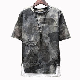 Camisetas hombre adolescente online-Camiseta con estampado de camuflaje de manga corta para hombre Camiseta suelta de moda casual para hombre de verano Teen Street Hip Hop