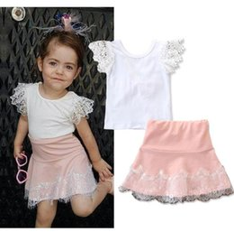 a64aca1462f baby girl clothes Lace Sets 2019 New Summer Kids Lace Short Sleeve T Shirts+Pink  Lace Skirts 2 Pcs Set Children Fashion Kids Clothing BY0999