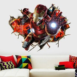 2019 homem de ferro do quarto Maravilha 3D Os Vingadores Adesivos de Parede 50 * 70 cm Novo Homem De Ferro Hulk Capitão Americano PVC Adesivo de Parede para Kids Room Decoração de Casa homem de ferro do quarto barato
