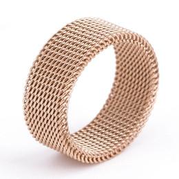 Titan-mesh-platte online-Titan Stahl Ringe Schmuck Kurze Mode Hohe Qualität Vergoldet Band Ringe Großhandel Edelstahlgewebe Männer Frauen Fingerringe LR090