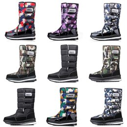 waterproof camo fabric Coupons - Fashion designer boots for women men Camo Half Boot Classic snow winter boots waterproof platform booties 36-46 Wholesale
